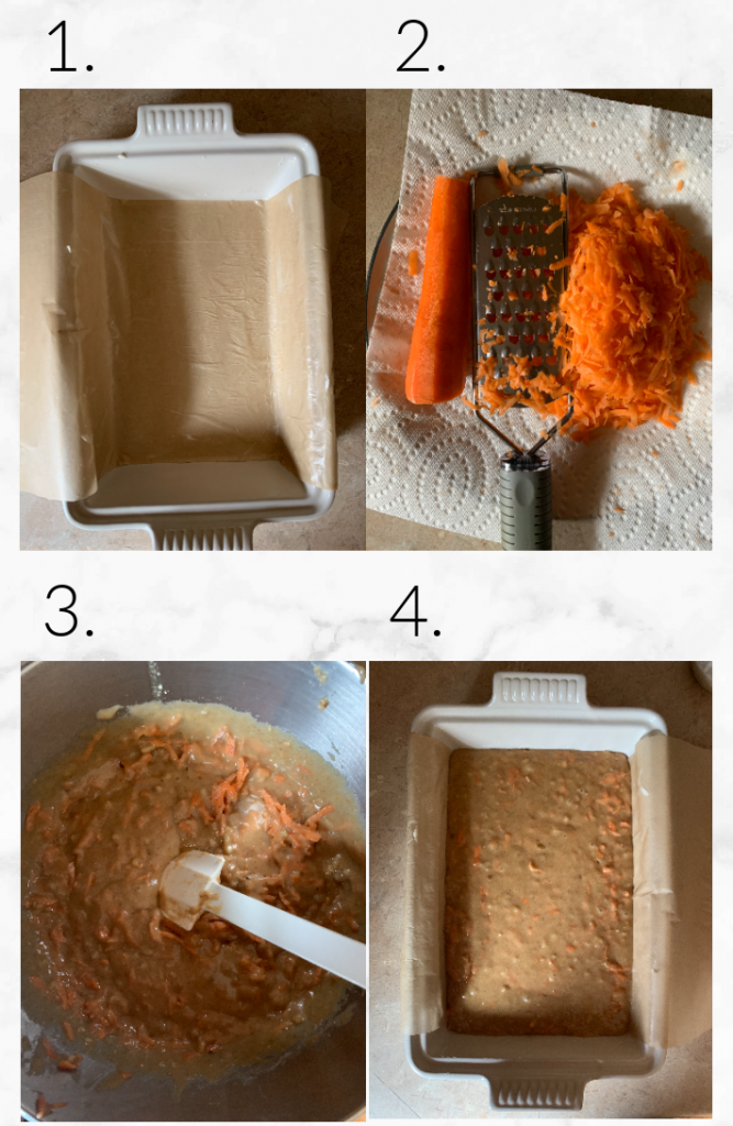 collage showing steps to make sourdough cake