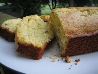 lemon thyme cornbread loaf with slices taken out