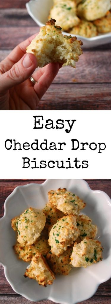 """two images of cheddar drop biscuits with text overlay reading \""""easy cheddar drop biscuits\"""""""