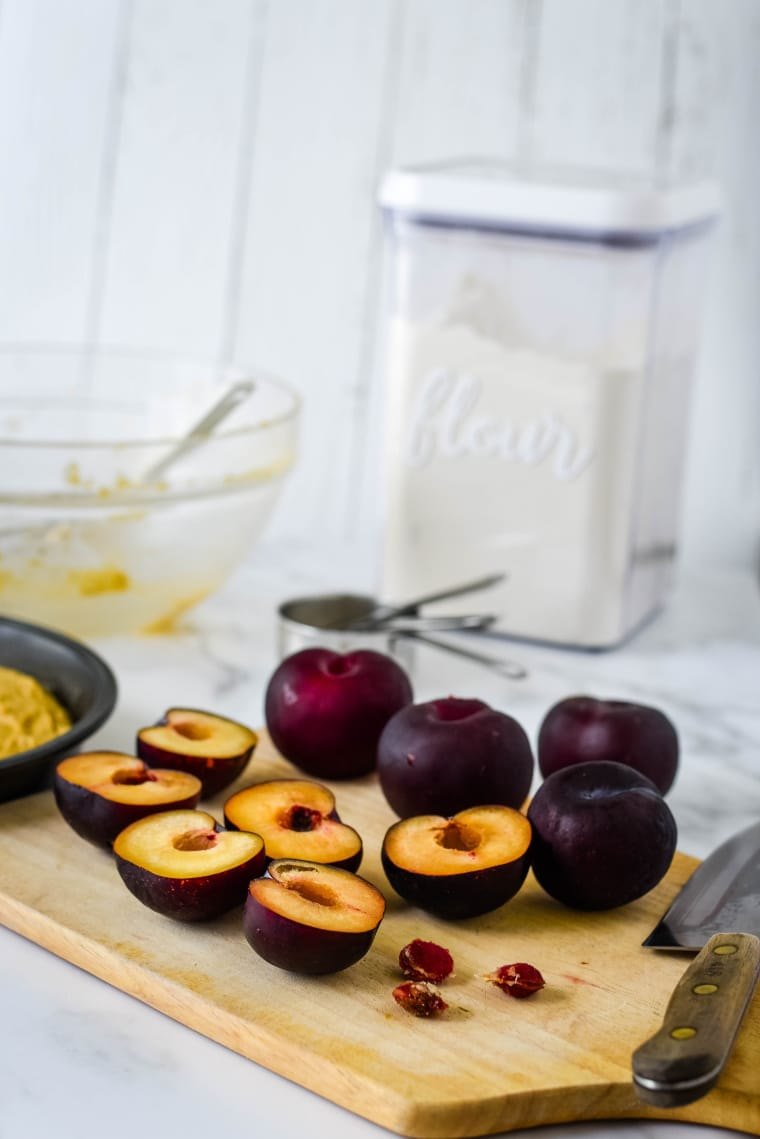 ingredients to make spiced plum cake