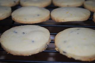 freshly baked lemon lavender cookies on cooling rack