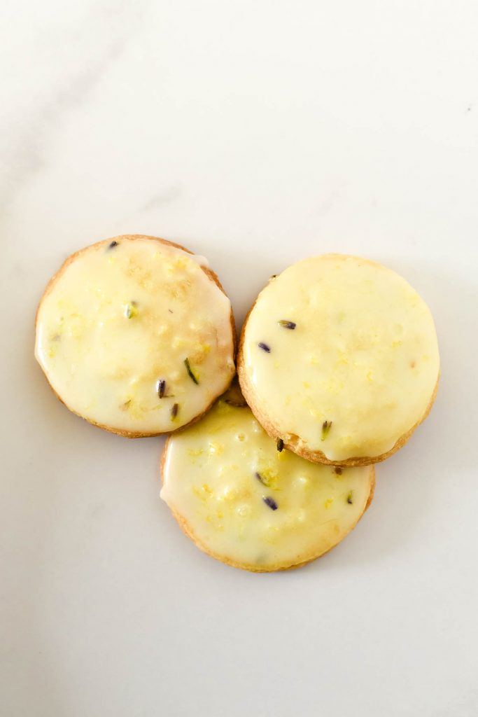 three lemon lavender cookies