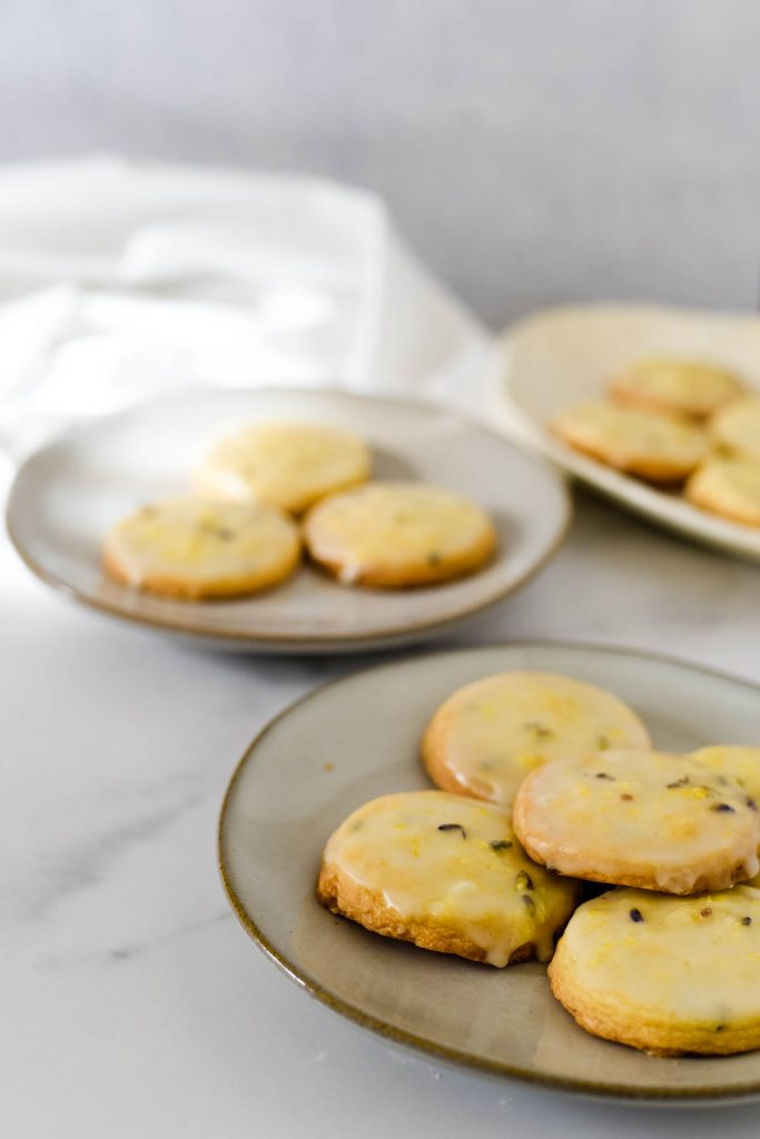 three plates of tea cookies in sunshine