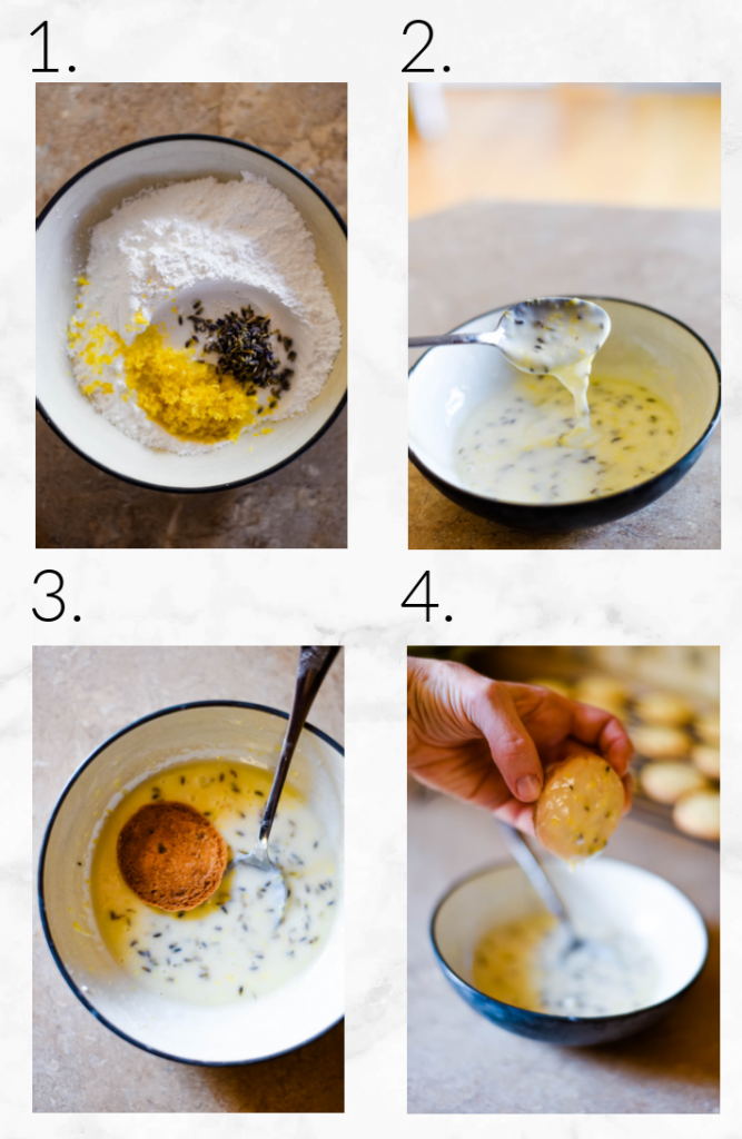 collage showing steps to ice cookies