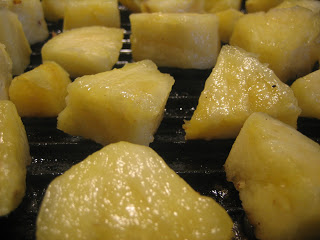 pineapple chunks on a grill