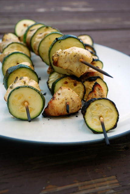 close up of grilled chicken and zucchini skewers