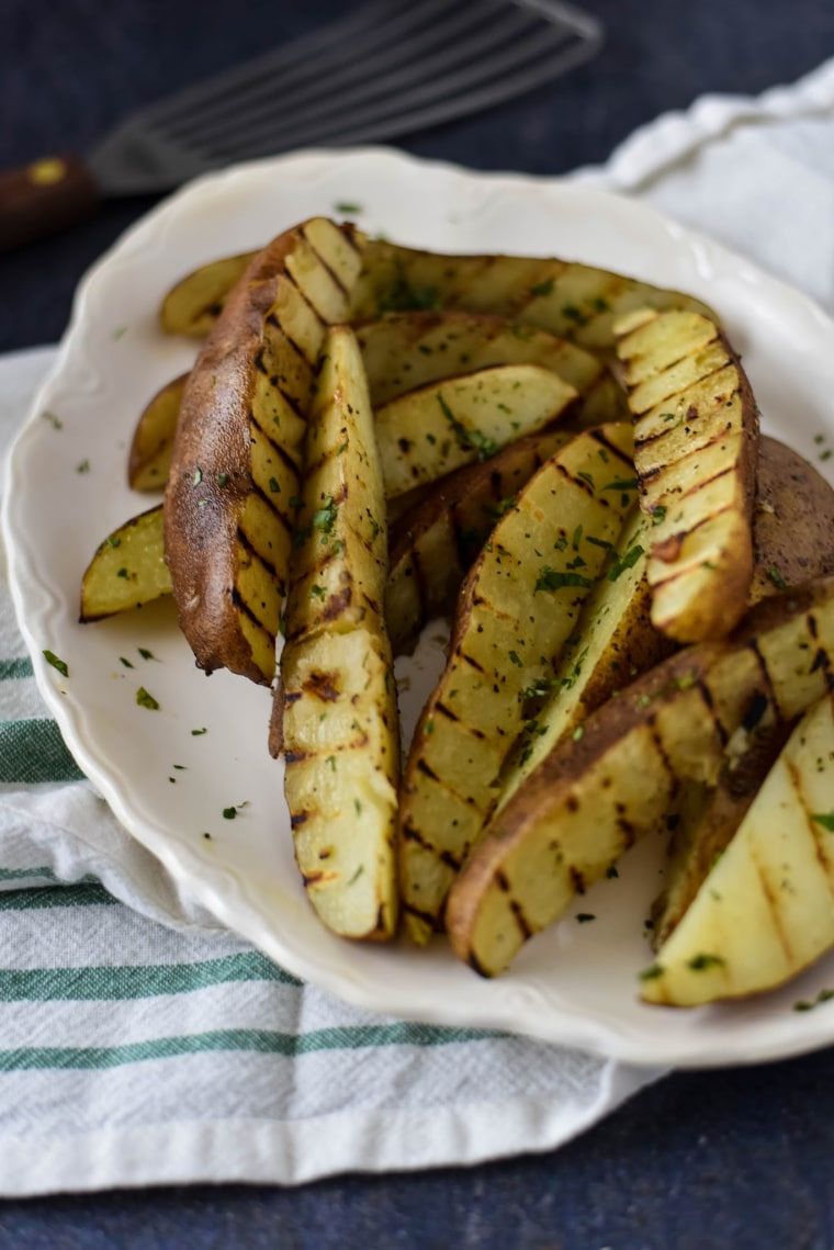 A plate with grilled Potato wedges