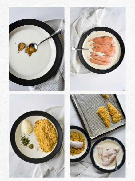 four steps to making walnut crusted chicken