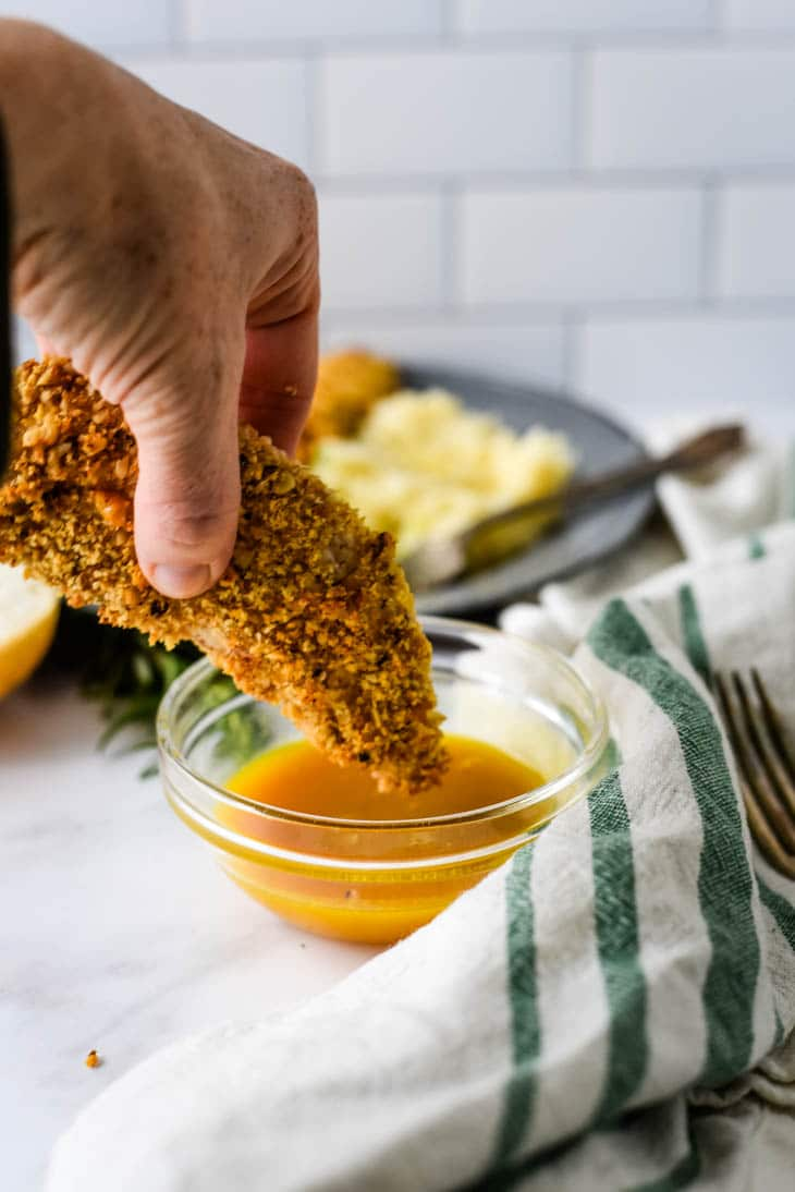 walnut crusted chicken dipped in honey mustard