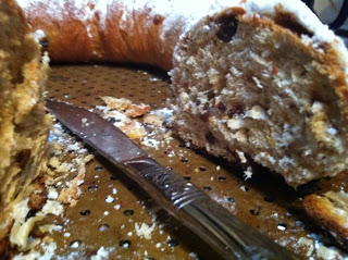 A close up inside of yeasted stollen