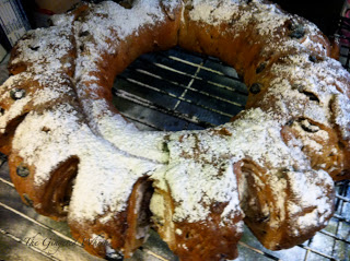traditional yeasted stollen on a wire rack