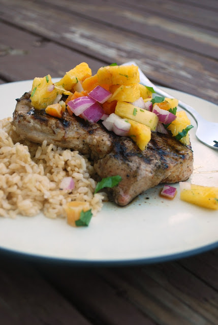 Perfect weeknight meal for the summer! Grilled Pork Chops and Fruit Salsa!