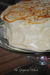 side view of butterbeer cake with caramel drizzle