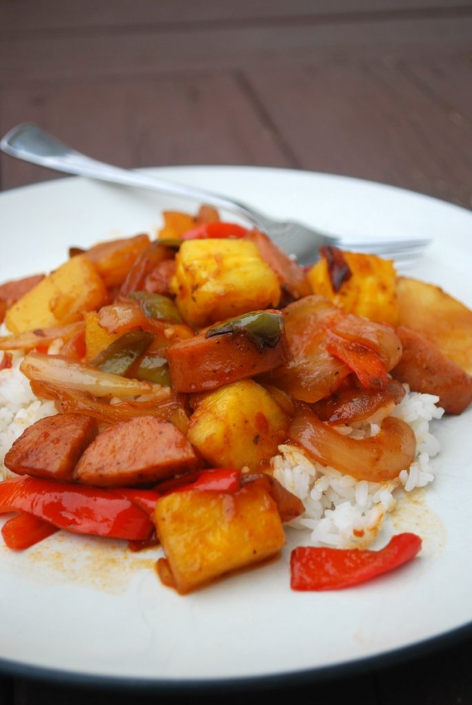 30 Minute Sweet and Sour Kielbasa Skillet Meal