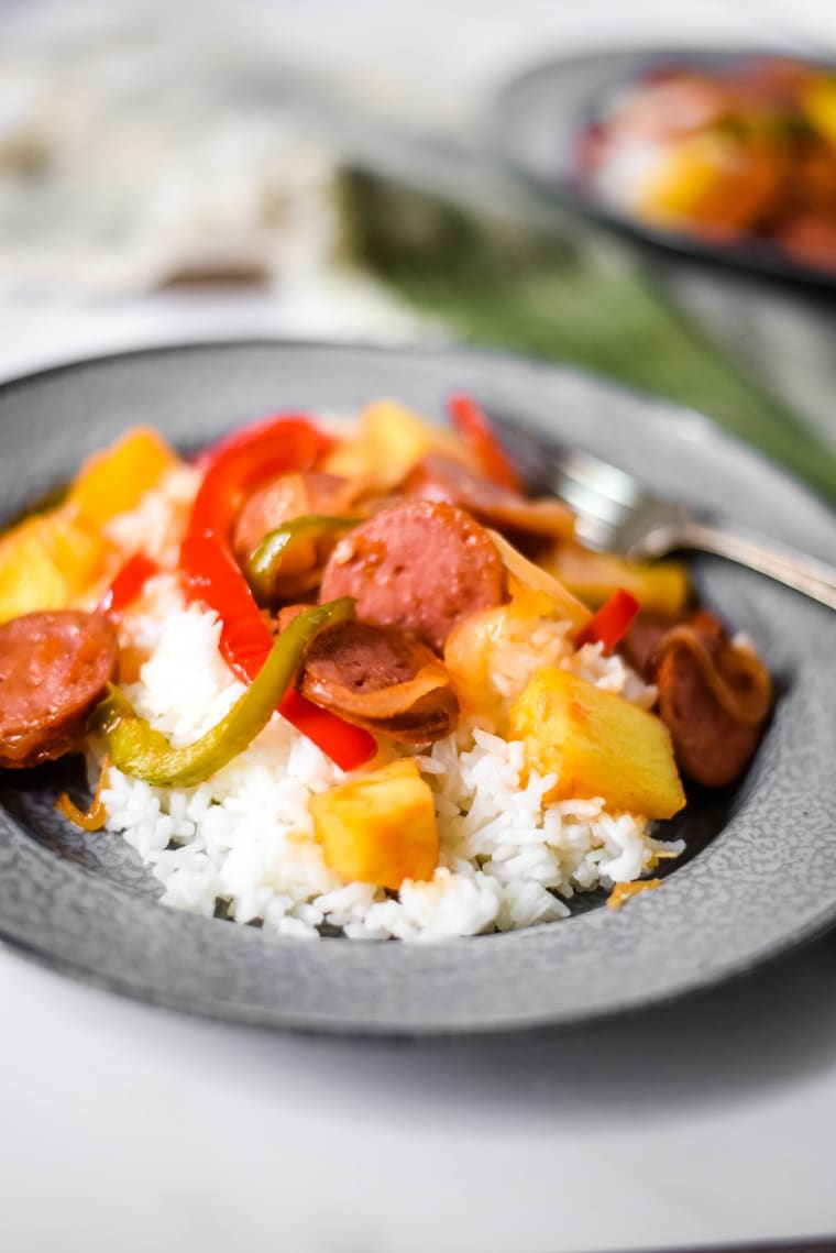 sweet and sour kielbasa with rice