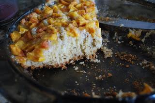 peach cake in pan