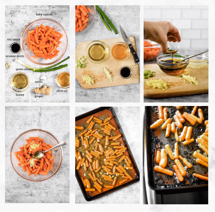 collage showing steps on how to make roasted baby carrots recipe