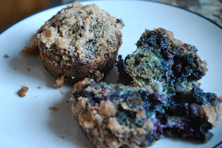 close up of blueberry muffins with sourdough on a plate