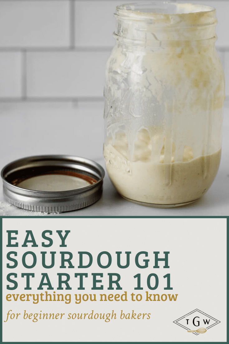 jar of sourdough starter with text overlay for pinterest