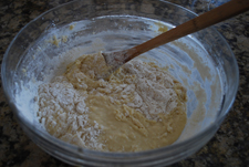 bowl with dough being mixed