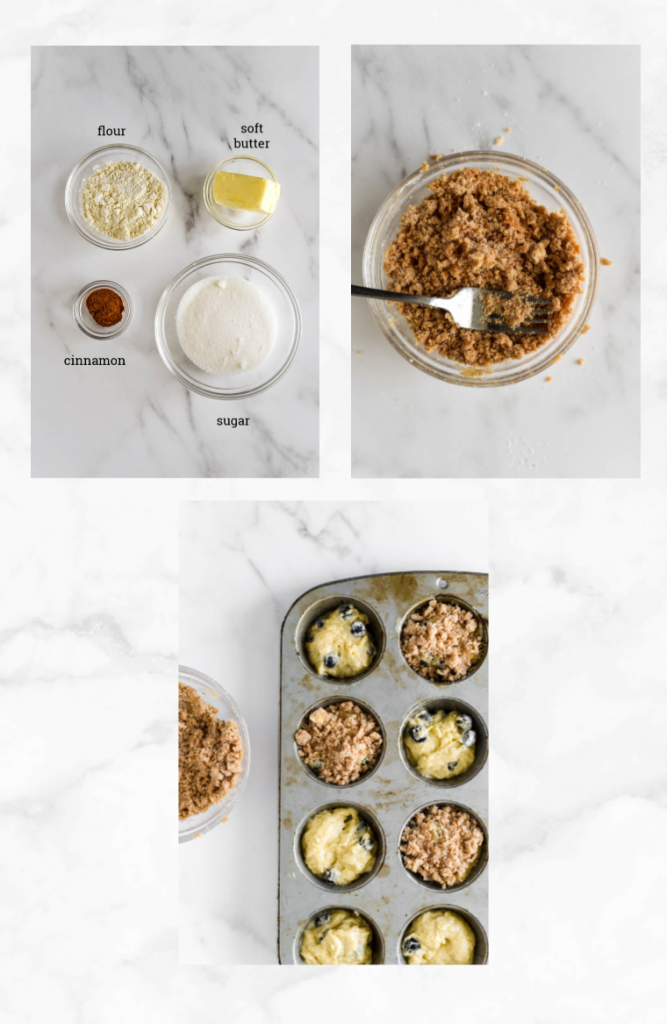 collage of images showing steps to make sugar coating for muffins