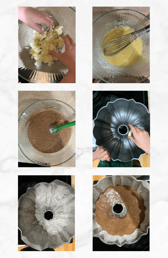 collage showing steps of how to make sourdough cake