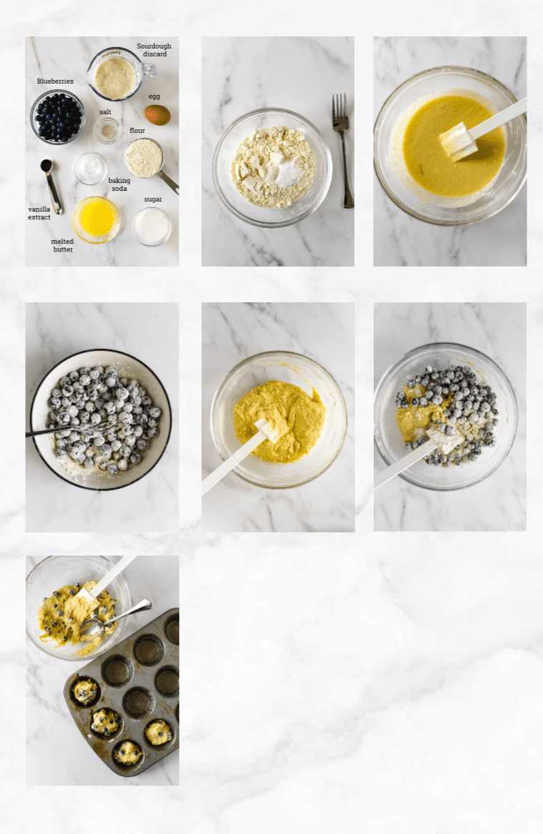collage of images showing step by step directions for making sourdough muffins with blueberries