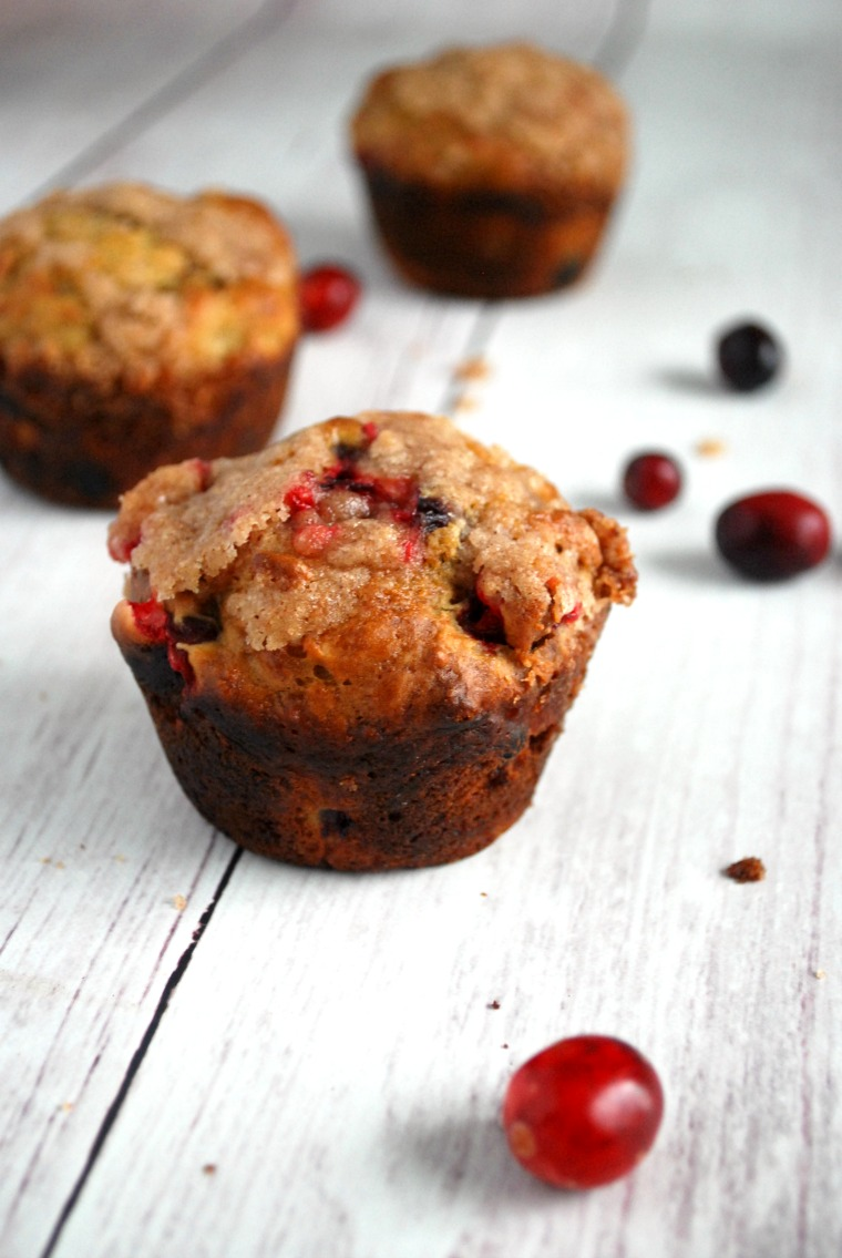 close up of cranberry muffin