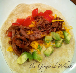 making soft tacos from a spicy pork loin recipe