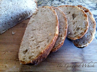 vermont sourdough bread slices on wooden board