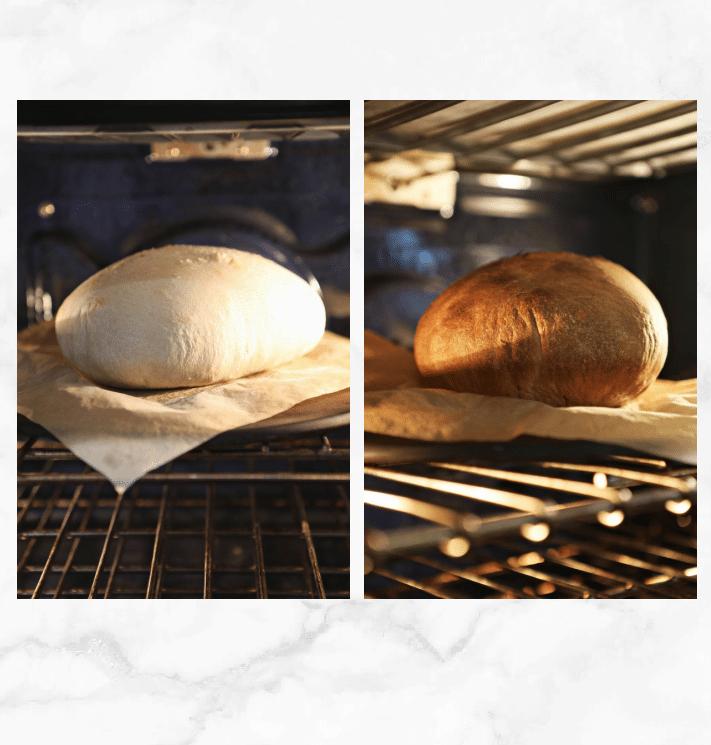 collage showing baking