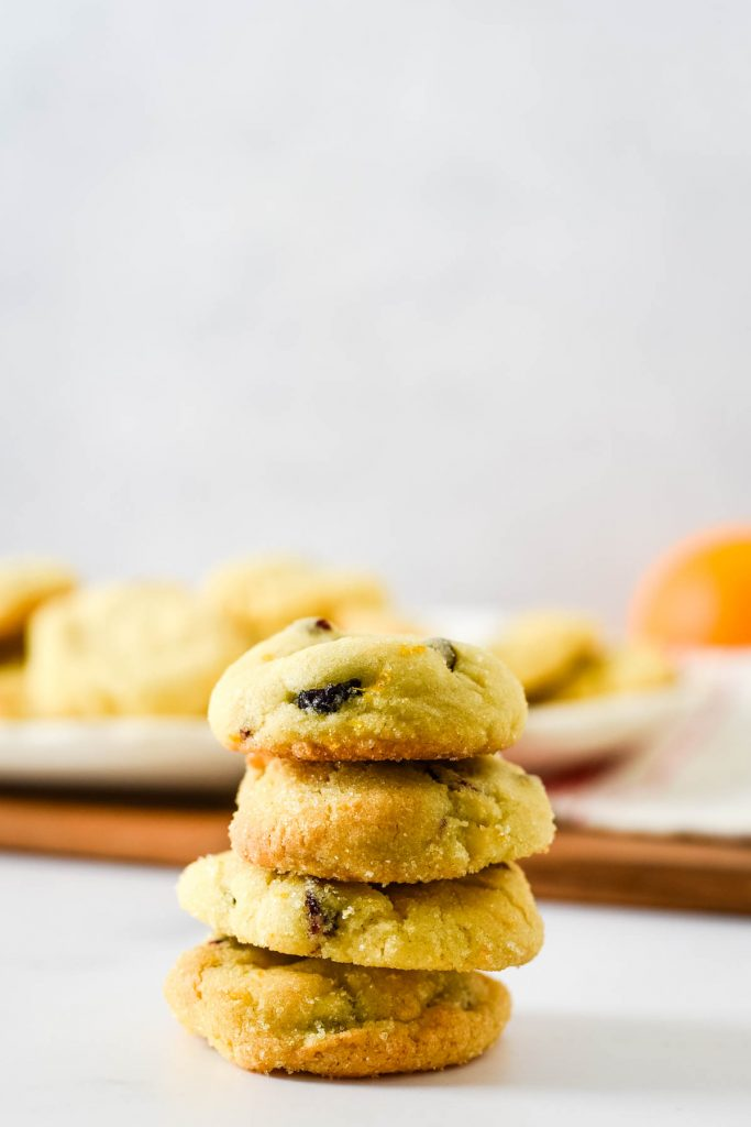 stack of cookies in front of platter