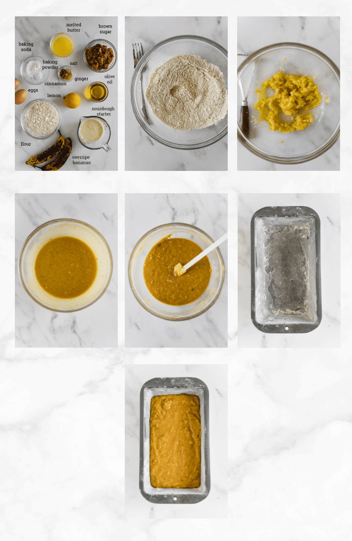 collage showing images of steps to make sourdough banana bread