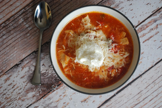 Healthy and comforting stovetop chicken lasagna stew! in bowl with spoon