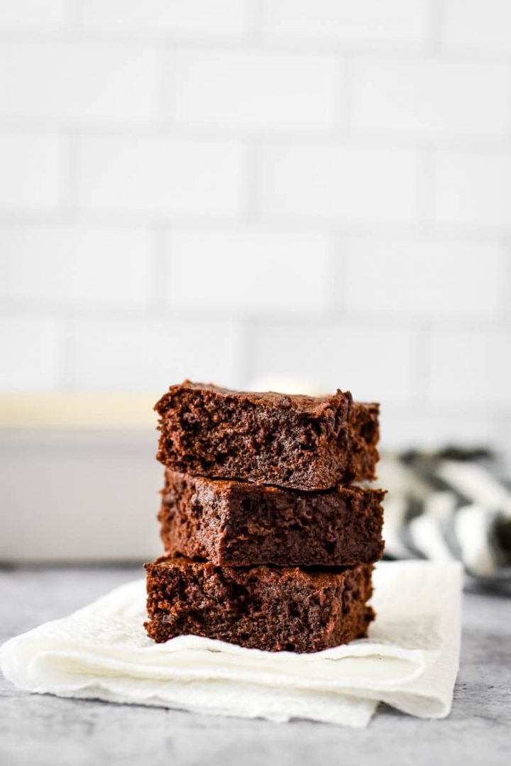 three sourdough brownies stacked on top of each other