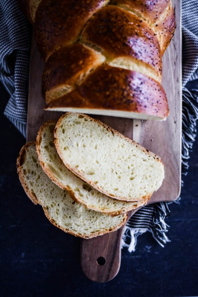 sourdough challah bread with slices
