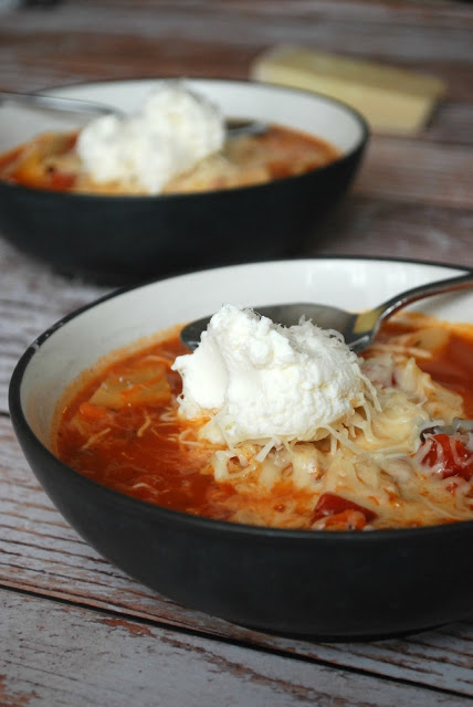 Healthy and comforting stovetop chicken lasagna stew!