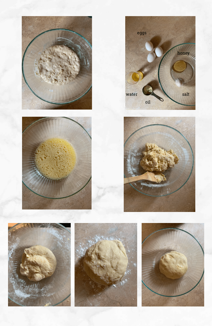 collage showing steps to make sourdough challah dough
