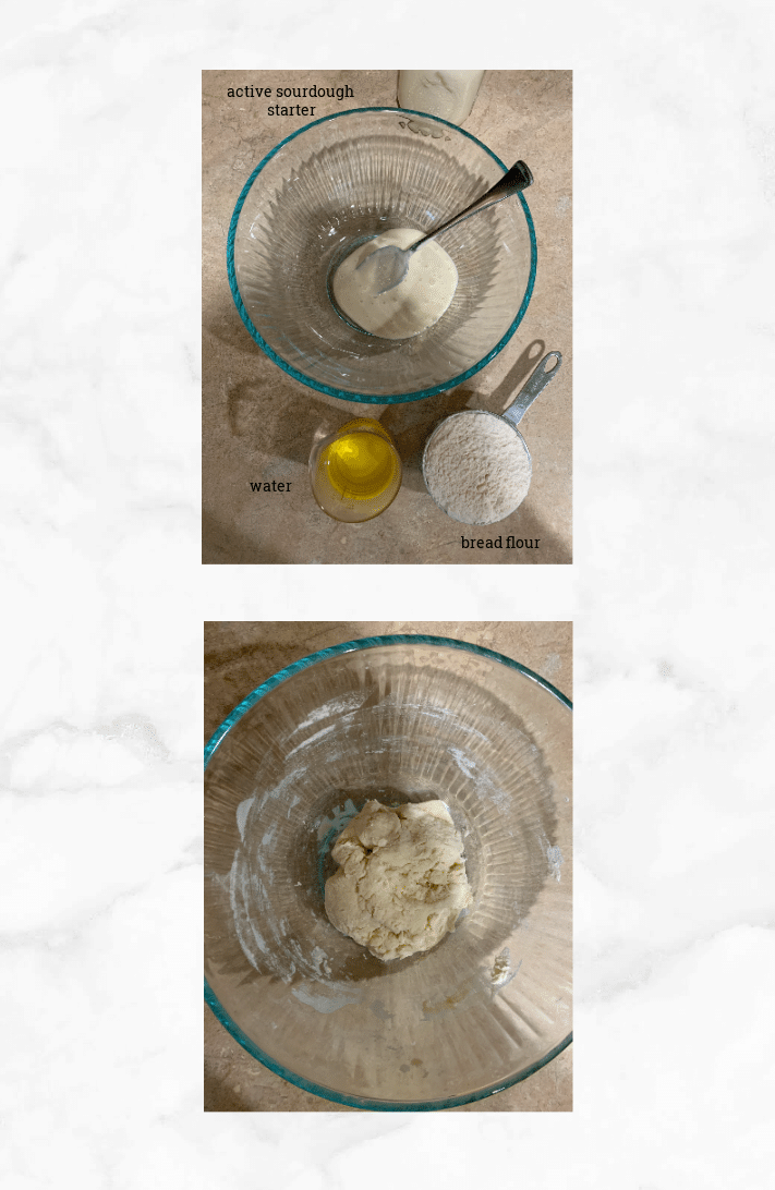 collage showing steps to make sourdough challah levain