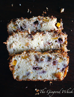 three slices of tropical quick bread stacked on each other