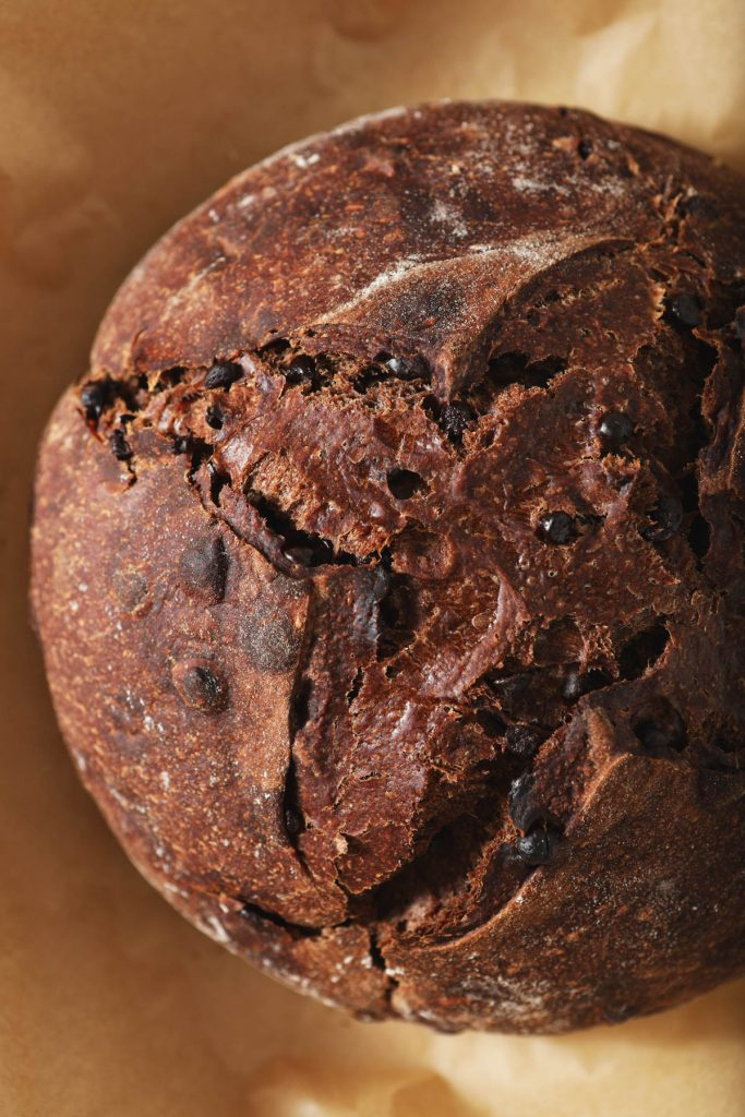 overhead view of italian chocolate bread loaf
