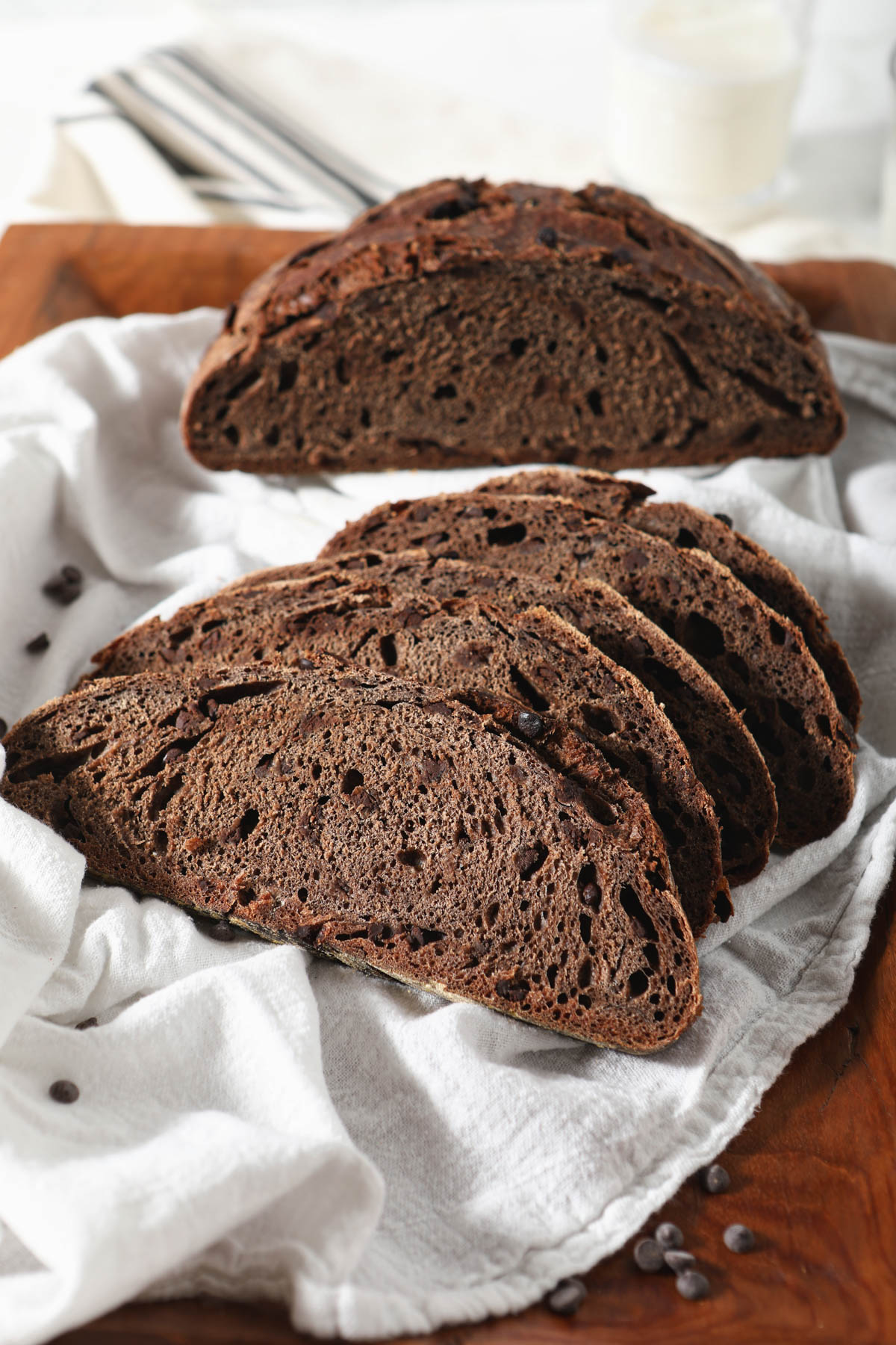 sourdough chocolate bread loaf with slices in front