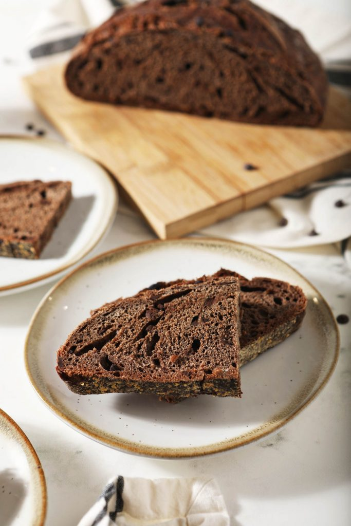 sourdough chocolate bread with slices on plates