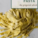 pile of sourdough pasta with recipe title overlay for pinterest