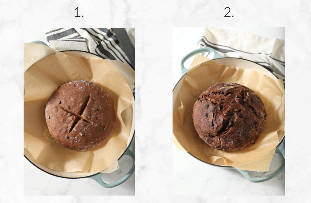 two images showing dough before baking and after