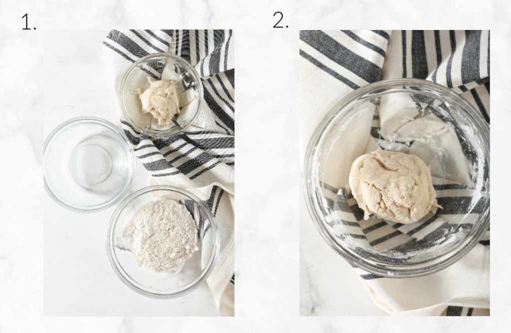 collage showing ingredients for biga natural on left and freshly mixed on right