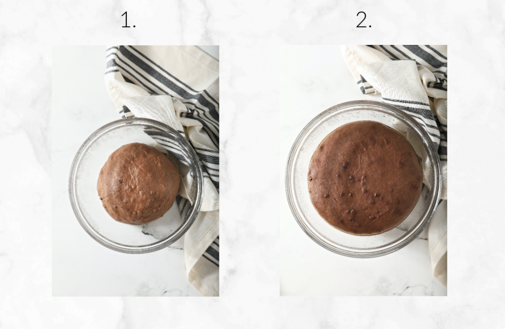 two images showing before and after of bulk proof on dough