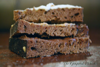 three slices of chocolate bread recipe stacked on each other