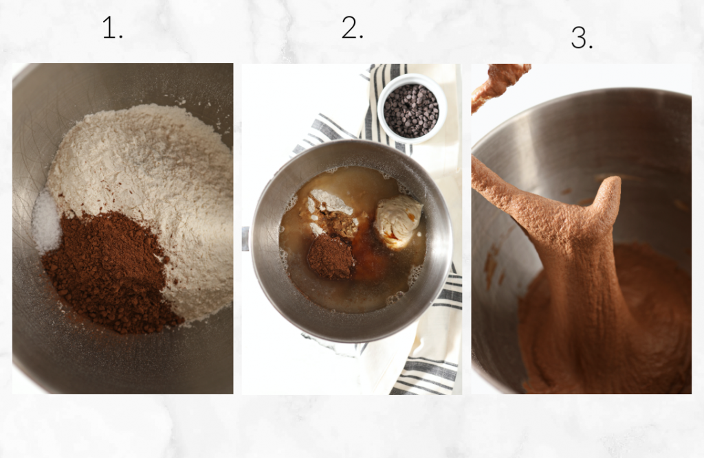 mixing the ingredients for the chocolate sourdough dough