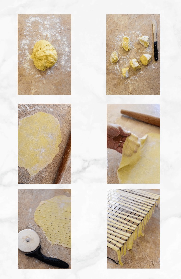 collage showing how to roll and cut sourdough pasta